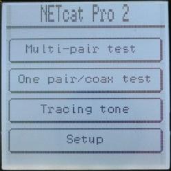 Основное меню кабельного тестера Greenlee NetCat Pro NC-500
