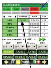 При обнаружении ошибок значение на счетчике LOGIC (LGC) ERROR увеличивается.