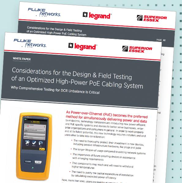 Considerations for the Design and Field Testing of an Optimized High-Power PoE Cabling System